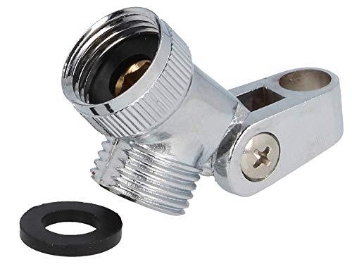 SANTRAS® Premium Metall-Gelenkstück (schwere Ausführung) 1/2 Zoll zur Verbindung von Duschschlauch und Handbrause – Brausekopfhalter mit verstellbarem Gelenk für individuellen Winkel des Duschkopfs