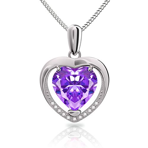 Collar Mujer corazón Plata 925 Colgante, con Para Regalo San Valentín Originales Cadena 45cm Longitud, Collar Púrpura Regalos de cumpleaños para Esposa, Madre, Hija