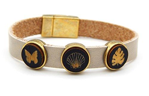 Damen Armband Lederarmband Metallic Beige 10mm breit 19cm lang mit 3 Holz Cabochon Schmetterling Muschel Blatt Echtleder Tropical Magnetverschluss Bronze nickelfrei