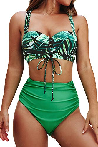 CUPSHE Women's Bikini Swimsuit Palm Leaves Floral High Waisted Green Bikini Set, S
