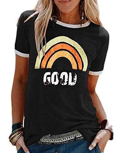 heekpek Maglietta Manica Corta Donna Arcobaleno T-Shirt,Cotone Maglietta Elegante Donna,Casual T-Shirt Estiva con Modello Vintage Casual T-Shirt Manica Corta Stretch