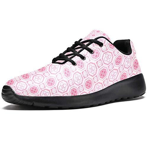 TIZORAX Laufschuhe für Herren, traditionelles rosafarbenes Muster, modische Sneaker, Netzstoff, atmungsaktiv, Mehrfarbig - mehrfarbig - Größe: 42.5 EU