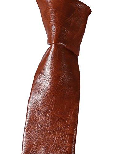 hisdern Herren PU Leder Krawatte Krawatte Gr. onesize, Braun