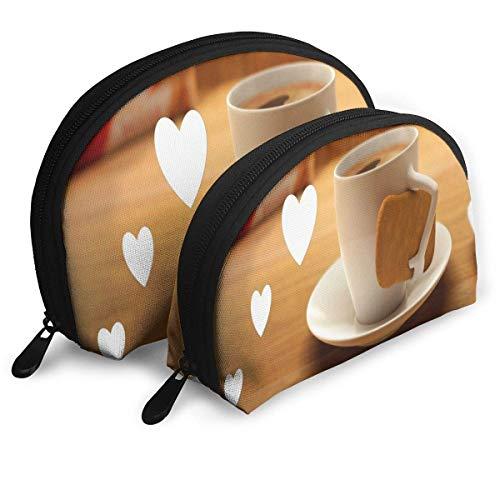 Schminktäschchen Liebevoller Kaffee und Kekse Portable Shell Makeup Case für Mutter Urlaub 2er Pack