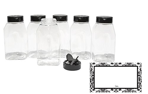 Baire Bottles - 16 Ounce Clear Plastic Spice Jars - 6 Pack, Black Flapper...