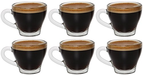idea-station Espresso-Tassen 6 Stück, 8 cl (80 ml), Design A, dickwandig, Espressotassen, Espresso Gläser, Espresso Glas, Espresso Tassen Set, Kaffeetassen-Set, Kaffeetasse, Mokkatassen