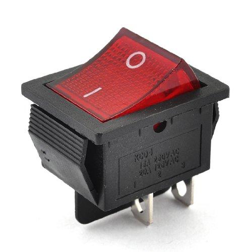 sourcing map Interruptor Basculante De I/O De 250Vac/15A 125Vac/20A Posición Doble Botón Rojo Dpst