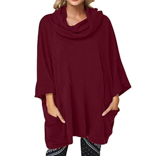 showsing-vrouwen kleding Womens Casual Pullover Top Dames Lange Mouw Pure Kleur Blouse Mode Sjaal Collar Jurk Tops Sweatshirt met Pocket
