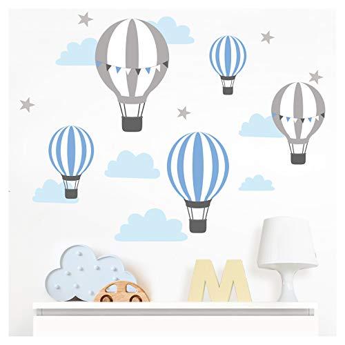 Little Deco DL502 - Adhesivo decorativo para pared, diseño de globos aerostáticos, color azul y gris, 55 x 28 cm (ancho x alto)