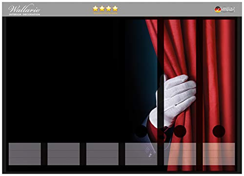 Wallario Ordnerrücken Sticker Vorhang auf für die Show Hand hinterm roten Vorhang in Premiumqualität - Größe 36 x 30 cm, passend für 6 breite Ordnerrücken