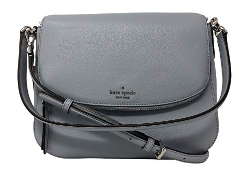 Kate Spade New York Jackson Soft Pebbled Leather Medium Flap Shoulder bag, Frosted Blue 497
