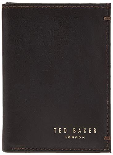 Ted Baker Core SML Bifold Leather Wallet, Accesorio de Viaje- Billetera Plegable para Hombre, Marrón Oscuro, Talla única