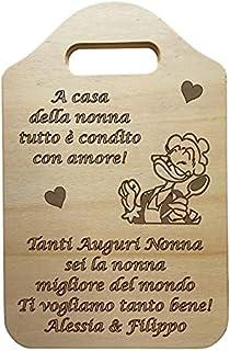 Tagliere decorativo in LEGNO personalizzabile IDEA REGALO originale per compleanno NONNA personalizzato FESTA DELLA MAMMA ...