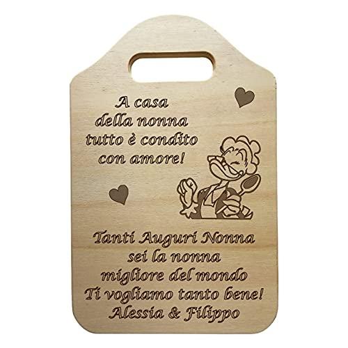 Tagliere decorativo in LEGNO personalizzabile IDEA REGALO originale per compleanno NONNA personalizzato FESTA DELLA MAMMA regali di NATALE FESTA DEI NONNI