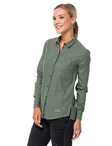 Jack Wolfskin Damen Alin Shirt Bluse, ming Green Checks, XL