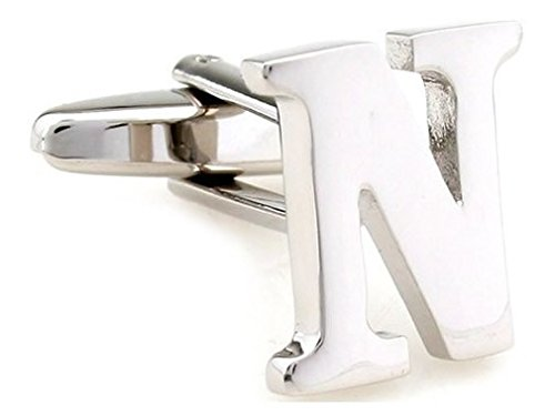 TEROON Cufflinks Lettre initiale 'N' [Bouton - NON paire]