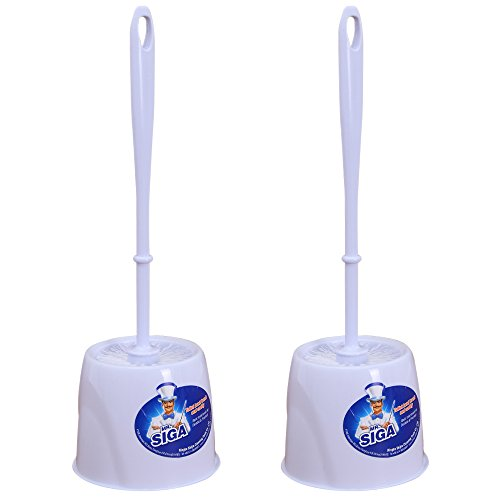MR.SIGA Toilet Bowl Brush and Caddy, Dia 12cm x 38cm Height, Pack of 2