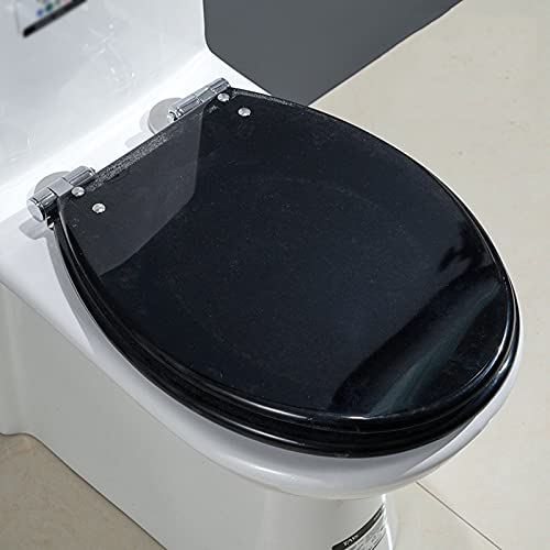 SunLin Tapa WC Marrón, Asiento De Inodoro Espesar, Toilet Seat Cierre Lento, Fácil De Instalar Y Limpiar, Desmontaje Rápido, Bisagra De Calidad, Material De Resina, Silenciar(1 Pieza)