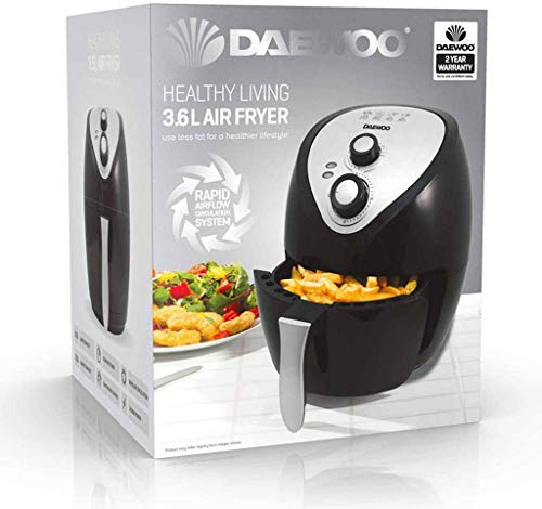 Daewoo Healthy Living SDA1553 Family 3.6L Oil Free 1400W Fast Frying Fryer with Rapid Air Flow Circulation, -Black, Silver