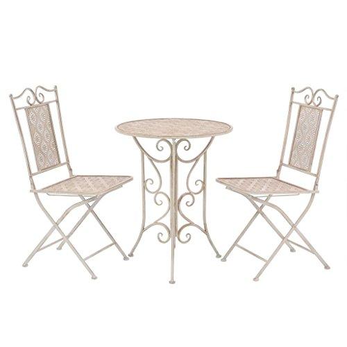 Festnight 3 pcs Ensemble de Bistro en Acier 1 Table et 2 Chaise Blanc
