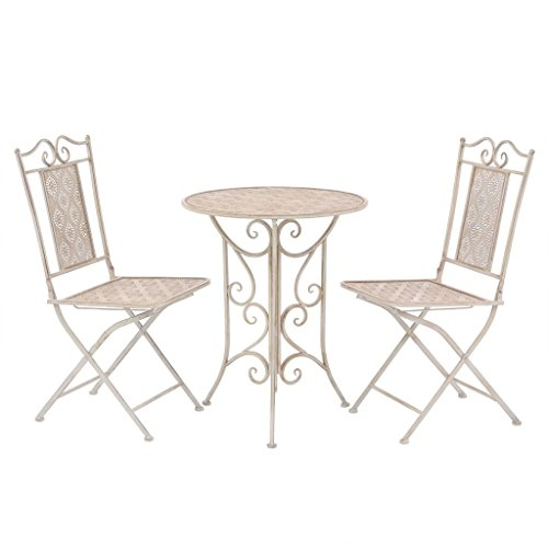 Festnight 3 pcs Ensemble de Bistro en Acier 1 Table et 2 Chaise Blanc