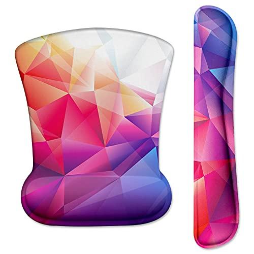 Tappetino per mouse ergonomico con cuscino in gel, motivo geometrico, con poggiapolsi, tappetino per mouse e tastiera, set di poggiapolsi antiscivolo, impermeabile e anti-tendini