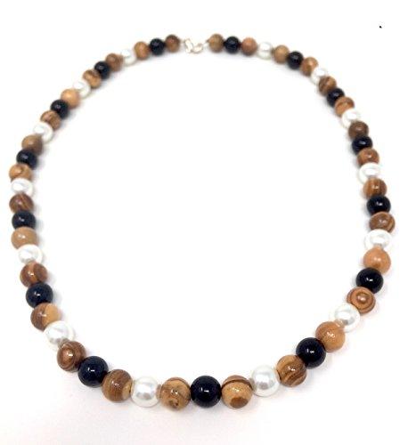 Halskette mit Perlen aus echten Olivenholz und Schmuckperlen - handgemacht auf Mallorca - Holzschmuck - Schmuck aus Olivenholz