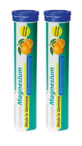 Magnesium Brausetabletten 2x20 Stk. Orangengeschmack – 200 mg Magnesium Zuckerfrei – T&D Pharma German Magnesium – Made in Germany