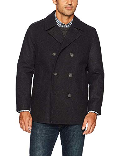 Nautica Men's Double Breasted Wool Peacoat, Charcoal, Medium