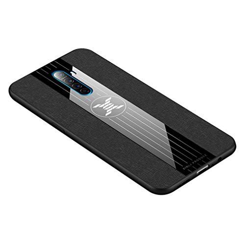 HAOYE Hülle für Realme X2 Pro Hülle, [ TPU Rahmen ] Handyhülle Schutzhülle, Stoff - Backcover Hülle Cover Canvas Design. Schwarz