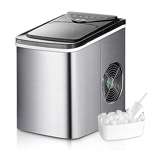 WATOOR Portable Ice Maker Machine for Countertop, 26 lbs Bullet Ice Cube in 24H, 9 Ice Cubes Ready in 6-9 Minutes,2.2L Ice Maker Machine with Ice Scoop and Basket Silver