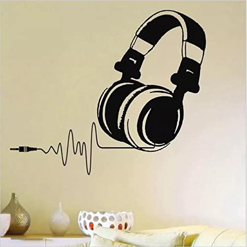 Pegatina de Vinilo para Pared, Auriculares de DJ, Audio, música, Pulso, calcomanía, Mural artístico, decoración del hogar, Pegatina de Pared Desmontable, Ventilador de música