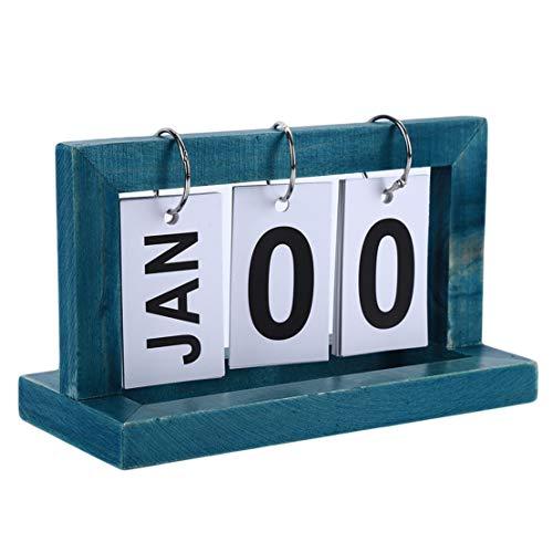 Kissherely - Calendario de madera de estilo nórdico para oficina, decoración del hogar, decoración de mesa, calendario 2019, color azul 20.1 * 8.7 * 11.9 cm