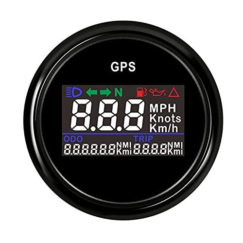 Kwent Manómetro 1 2V 24V Digital GPS Velocímetro 52mm odómetro Virginia Pantalla para Barcos yate Motocicleta Coche con Alarma Grupo de Calibre Digital (Color : BN)