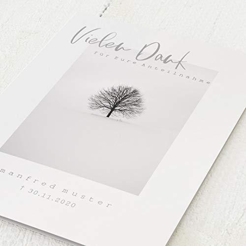 sendmoments Dankeskarten Trauer, Danksagungen, Trauerbaum, 5er Klappkarten-Set C6, personalisiert mit Text, wahlweise mit persönlichen Bildern, optional Design-Umschläge