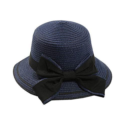 Sombrero para Sol para Mujer Sombrero para Sol de Verano Floppy Brim Wide Bowknot Sombrero de Paja Sombrero para Playa al Aire Libre Floppy Hat