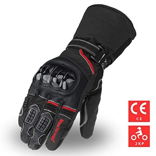 Guantes de moto invierno, guantes de Scooter cálidos Thinsulate 3M Pantalla táctil impermeable a prueba de viento para hombres Mujeres Guantes de moto Guantes resistentes al desgaste de motocicletas