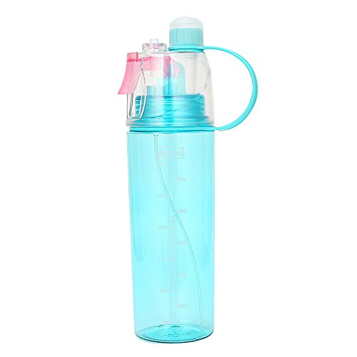 20oz Motivational Water Bottle with Time Marker & Straw Sport Cycling Running Mist Spray Water Bottles Leakproof Tritan BPA Free Water Jug (Blue)