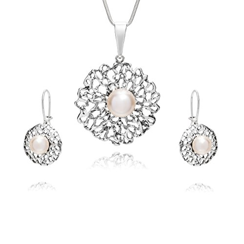 LillyMarie Donne Argento Parure Sterling Ciondolo Grande Perla Swarovski Elements Originali Bianco Lunghezza Regolabile Confezione Regalo Bridal Jewelry