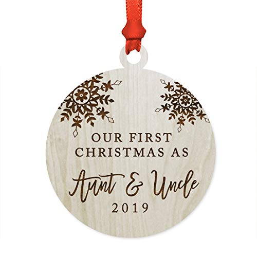 Andaz Press Personalized Wedding Engagement Laser Engraved Wood Christmas Ornament, Our First Christmas Engaged 2019, Snowflakes, 1-Pack, Includes Ribbon and Gift Bag, Custom Name