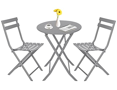 Folding Bistro Table and Chairs Set 2, Folding Garden Table and Chairs with Premium Steel, Garden Furniture Set for Outdoor Garden Yard Porch Poolside Lawn Balcony