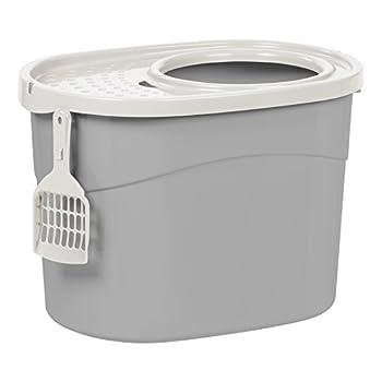 Iris Ohyama, Maison de toilette pour chat avec couvercle à trous, entrée par le haut et pelle - Top Entry Cat Litter Box - TECL-20, plastique, gris, 53 x 39 x 56.9 cm