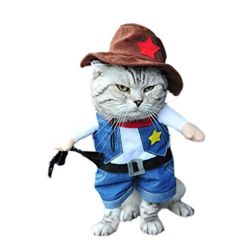 DELEY Animal de Compagnie Chien Chat Halloween Noël Cosplay Party Fancy Dress Costume Uniforme des Vêtements Cowboy L