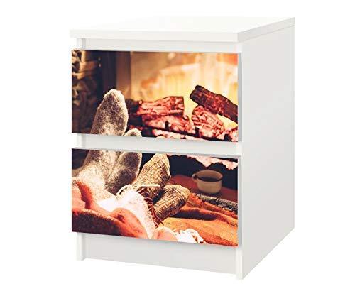 Set Möbelaufkleber für Ikea Kommode MALM 2 Fächer/Schubladen Kälte Kamin Herbst Winter Feuer Socken Kat22 gemütlich Aufkleber Möbelfolie sticker (Ohne Möbel) Folie 25F274