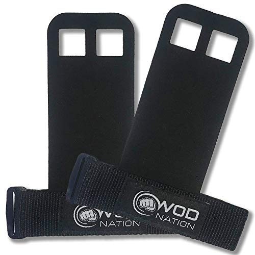 WOD Nation Barbell Gymnastics Grips Perfect for Pull-up Training, Kettlebells, Gymnastic Rings (Black - Medium)