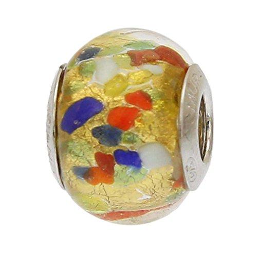 GlassOfVenice - Abalorio de cristal de Murano dorado, multicolor