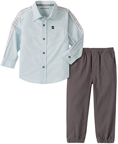 Calvin Klein Baby Boys' 2 Pieces Shirt Pants Set, Light Blue/Grey, 12M