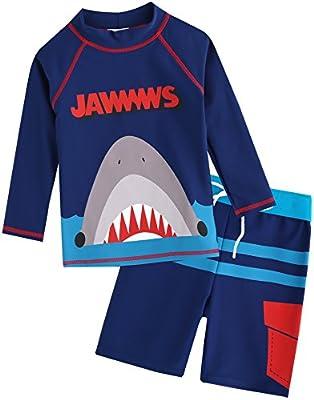 VAENAIT BABY Kids Boys Rashguard Swimsuit Long Shirt and Shorts Set Jaws King M