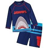 [Vaenait Baby] 2-7歳UVカット ラッシュガードベビー子供男の子長袖上下セット水着 Jaws King M