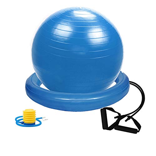 Gloop Weich Gymnastikball Dick Anti-Burst Sitzball Peziball Swissball Fitnessball Ballpumpe, Ballschale, Widerstandsbändern, Mini Pilates Ball Yogaball
